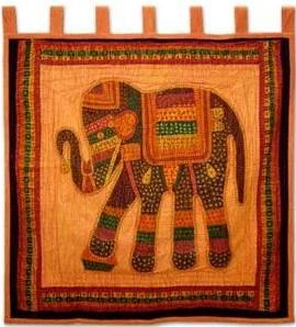 Cotton Wall Hanging, 'Sunshine Elephant'