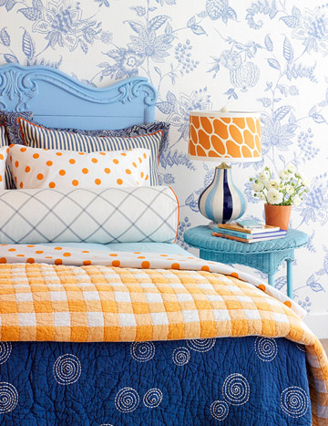 blue and orange bedroom