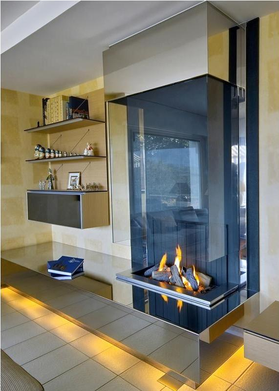 open wall mounted fireplace