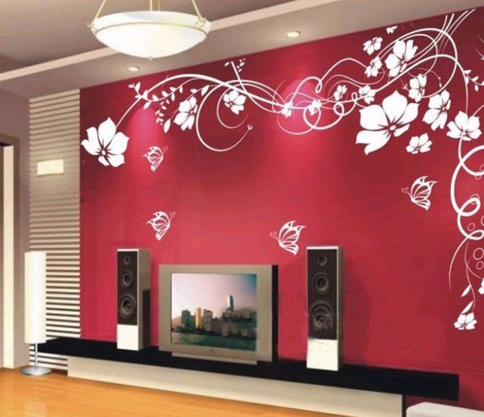 33 wall painting designs to make your living room - Wall sticker ideas for living room ...