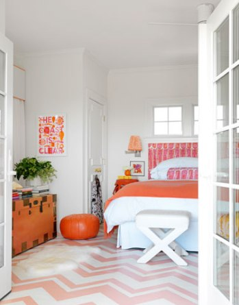 A Pink and Orange Bedroom